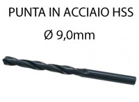 Punta elicoidale in acciaio da 9 mm