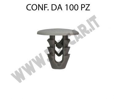 Bottone di fissaggio con testa da 15 mm e per foro da 6,5 mm colore grigio
