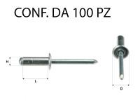 Rivetti a strappo in alluminio 3,5 x 10 mm e foro con Ø 3,5 mm