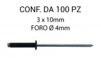 Rivetti a strappo nero, in alluminio 3x10 mm per foro Ø 3 mm