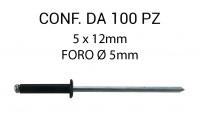 Rivetti a strappo nero, in alluminio 5 x 12 mm e foro di Ø 5 mm