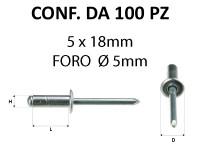 Rivetti a strappo in alluminio 5 x 18 mm e foro di Ø 5 mm