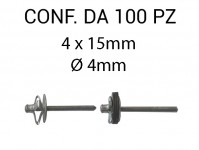 Rivetti tipo a fiore, in alluminio 4x15 mm e foro di Ø 4 mm
