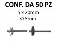 Rivetti tipo a fiore alluminio 5x20 mm a testa larga Ø 14 mm per foro...