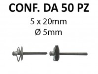 Rivetti tipo a fiore alluminio 5x20 mm Ø testa 10 mm per foro Ø 5 mm
