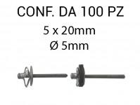 Rivetti tipo a fiore, in alluminio 5x20 mm e foro di Ø 5 mm nero