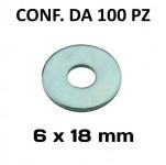 Rondelle, ranelle a fascia larga con Ø foro 6 mm, Ø esterno 18 mm, s...