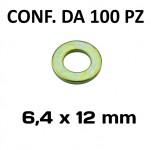 Rondella con Ø interno di 6,4 mm, Ø esterno 12 mm, spessore 1,5 mm c...