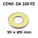 Rondelle piane Ø foro 10 mm, diametro esterno 20 mm, spessore 2 mm zi...