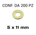 Rondelle piane Ø foro 5 mm, diametro esterno 11 mm, spessore 1,2 mm z...