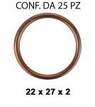 Rondella guarnizione in rame con Ø interno di 22 mm, Ø esterno 27 mm...