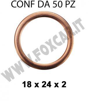 Rondella guarnizione bombata in rame diametro interno di 18 mm, Ø 24 mm, spessore   2 mm