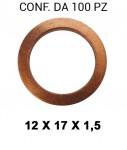 Rondella guarnizione in rame con Ø interno di 12 mm, diametro esterno...