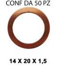 Rondella guarnizione in rame con Ø interno di 14 mm, Ø esterno 20 mm...