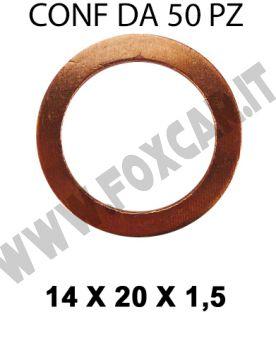 Rondella guarnizione in rame con Ø interno di 14 mm, Ø esterno 20 mm, spessore 1,5   mm