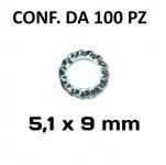 Rondella zigrinata, dentellata esterna diametro foro 5,1 mm per viti e...