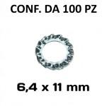 Rondella di sicurezza zigrinata, dentellata esterna diametro foro 6,4 ...