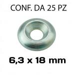 Rondella sottovite svasata piena da 6,3 x 18 mm in acciaio