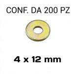 Rondelle piane Ø foro 4 mm, diametro esterno 12 mm, spessore 1 mm zin...