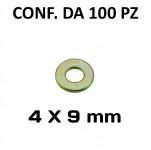 Rondelle piane per foro 4 mm, diametro esterno 9 mm, spessore 1 mm