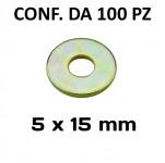 Rondelle a fascia larga con Ø foro 5 mm, Ø esterno 15 mm, spessore 1...
