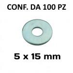 Rondelle, ranelle a fascia larga con Ø foro 5 mm, Ø esterno 15 mm, s...