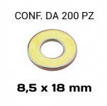 Rondelle piane Ø foro 8,5 mm, diametro esterno 18 mm, spessore 1,5 mm...