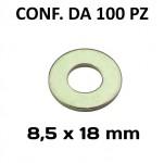 Rondelle, rosette piane Ø foro 8,5 mm, diametro esterno 18 mm, spesso...