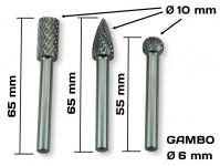 Set tre frese in acciaio HSS per smerigliatrici e trapani