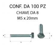 Vite testa esagonale per chiave da 8 mm M5 x 20 zincata
