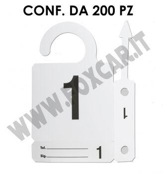 Cartellino numerato identificativo per auto