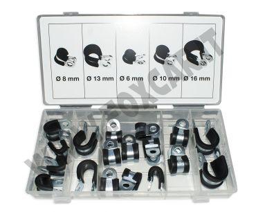Kit di 18 anelli stringitubo gommati e zincati