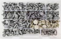 Kit di 550 bottoni in plastica a fungo con gradini per fissaggi vari