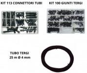Promo Kit 113 connettori tubi + Kit 100 giunti tergi + Tubo tergi 25 m...