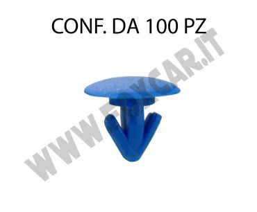 Bottone con alette in plastica blu per il fissaggio della targa