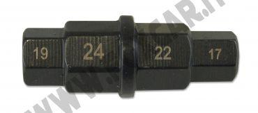 """Bussola speciale esagonale per moto da 17 19 22 24 mm e attacco da 3/8"""""""