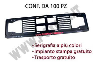 Porta targa posteriore in plastica con stampa digitale. Conf. 100 pz