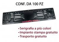 Porta targa posteriore in acciaio verniciato nero con serigrafia digit...
