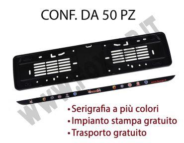 Porta targa in PPL e listello in plastica con serigrafia digitale. Conf. 50 pz