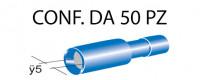 Terminali faston cilindrici femmina tutti ricoperti Ø 5 mm, colore bl...