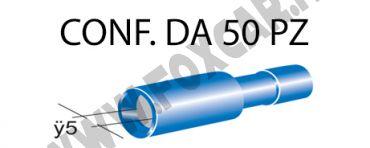 Terminali faston cilindrici femmina tutti ricoperti Ø 5 mm, colore blu per cavi   da 1 a 2,5 mm²