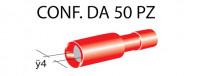 Terminali faston cilindrici femmina tutti ricoperti Ø 4 mm, colore ro...