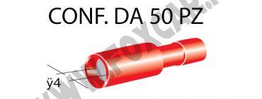 Terminali faston cilindrici femmina tutti ricoperti Ø 4 mm, colore rosso per cavi   da 0,25 a 1 mm²