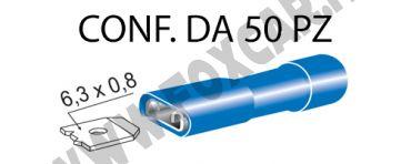 Terminali faston femmina ricoperti da 6,3 mm con copertura totale colore blu per   cavi da 1 a 2,5 mm²