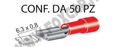 Terminali faston femmina ricoperti da 6,3 mm, colore rosso per cavi da 0,25 a 1   mm²