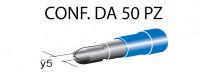 Terminali faston cilindrici maschi ricoperti Ø 5 mm, colore blu per c...