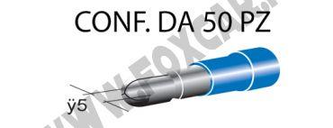 Terminali faston cilindrici maschi ricoperti Ø 5 mm, colore blu per cavi da 1 a   2,5 mm²