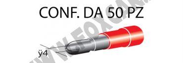 Terminali faston cilindrici maschi ricoperti Ø 4 mm, colore rosso per cavi da 0,25   a 1 mm²