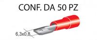Terminali faston maschio ricoperti da 6,3 x 0,8 mm colore rosso per ca...