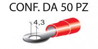 Terminali ad occhiello presisolati per viti da 4 mm e cavi da 0,25 a 1...